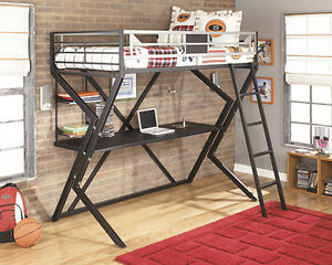 TWIN ASHLEY LOFT METAL BUNKBED WITH DESK AND MATTRESS