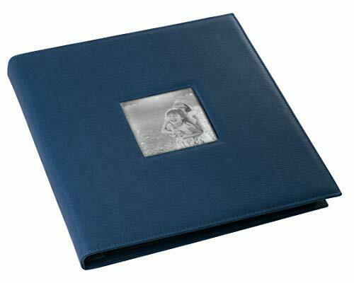 """Navy Faux Leather Photo Album - Front Cover Window Frame, Max. 600 4x6"""" Prints"""