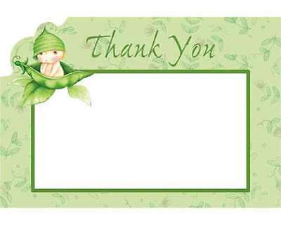 BABY SHOWER Sweet Pea THANK YOU NOTES (8) ~ Party Supplies Stationery Card Green