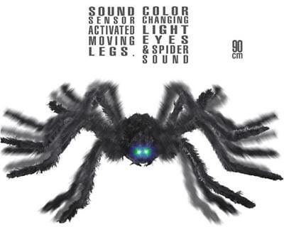 Riesen Spinne 90 cm  mit Sound Geräusch animiertbewegliche Beinen Halloween (Riesen Spinne Halloween Deko)