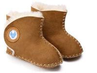 inch blue cwtch sheepskin baby shoes tan pink black