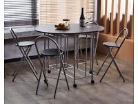 DINING SET: Butterfly dining table & 4 chairs in black/silver