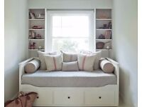 White IKEA Hemnes extendable Day Bed with 3 drawers with 1 single mattress queen size sofa bed