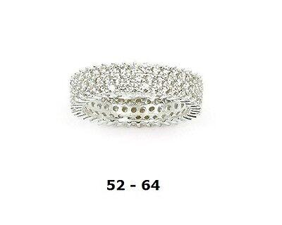 Dolly-Bijoux Alliance Ethernity T52 Sertie de 3 Rangée Diamant Cz Argent 925