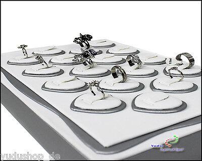 Vorlagebrett Schmuckkasten mit 18 x Ringträger in Herz -Form lila / weiss