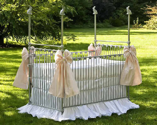 Lulla Smith Helsinki Ivory Crib Skirt Nursery Dupioni silk Camden Maine