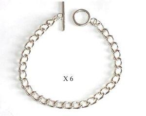 6 x Silver tone Charm Bracelet Blanks - 8 inch (20cm) - NEW