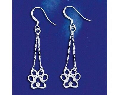 Sterling Silver I Love My Dog Paw Print Earrings CZ Puppy Dangle Solid 925 Italy (I Love Puppies)