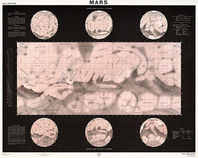 Map of Mars Poster (1962)