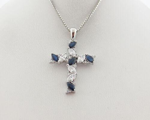 "Fine Genuine Diamonds Blue Sapphires Solid 18k White Gold Cross Pendant 18"" Neck"