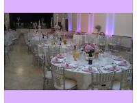 Chair covers, table linen, charger plates, floral centrepiece, cutlery, crockery hire, balloon decor