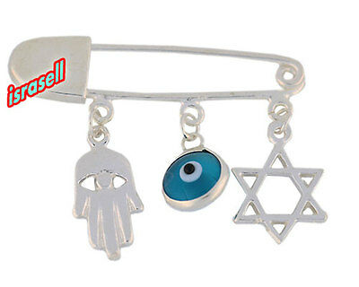 925 Sterling Silver Evil Eye & Hamsa & Star of David Baby Pin - Judaica Jewish