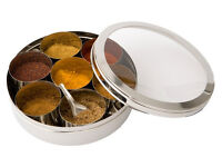 Stainless Steel Spice Box and Masala Box Container with SS Lid & Cover Size 11
