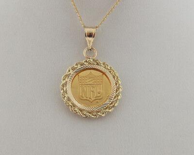 """Pure Solid .9999 24k Gold Coin NFL Super Bowl XXVI 14k Pendant 18"""" Necklace"""