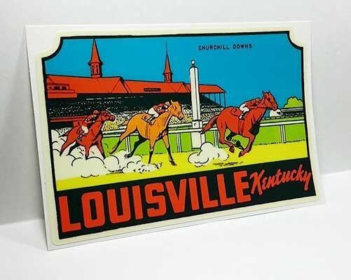 Louisville Kentucky Vintage Style Travel Decal / Vinyl Sticker, Luggage Label