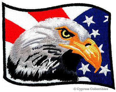 BALD EAGLE AMERICAN FLAG iron-on EMBROIDERED PATCH USA PATRIOTIC applique EMBLEM