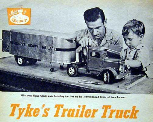 1954 Toy Tractor Trailer How-To build PLANS Wood & Metal
