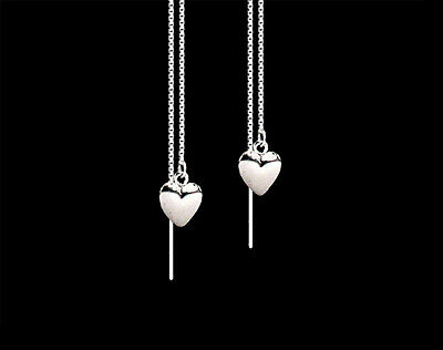 Heart .925 Sterling Silver Cute Dangle Ear Thread Threader Earrings on Rummage
