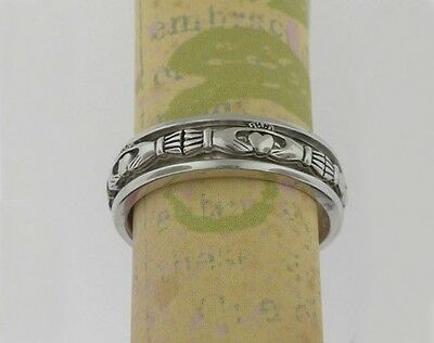 Sterling Silver Claddagh Spinner Ring By FADO, Wicklow Ireland Various Sizes