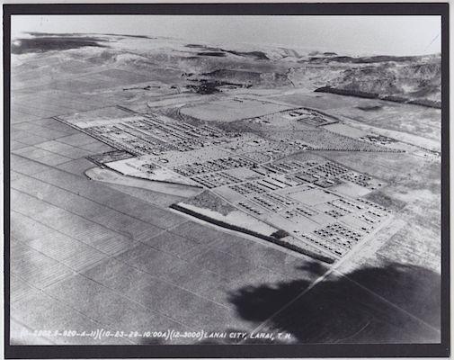 """LANAI CITY LANAI 1929 HAWAII HAND PRINTED SILVER HALIDE 8X10"""" AERIAL PHOTO"""