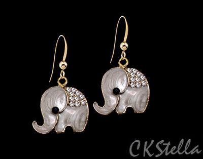 - *CKstella*  Gold CZ Elephant Pewter Cubic Zirconia Dangle 14K Gold gf Earrings