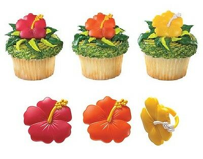 Beautiful Hawaiian Hibiscus Flower Red Orange Party (12) Cupcake Topper RINGS](Hawaiian Cupcakes)
