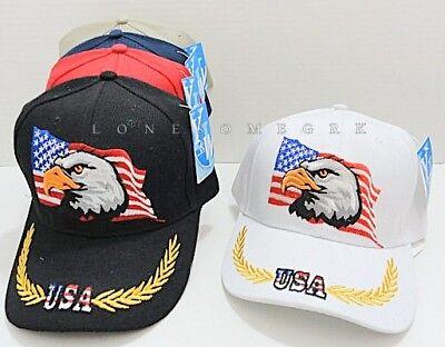 Embroidered 3D USA Flag & Bald Eagle Baseball Hat Cap w/ Black Vent Holes BOXED - Black Bald Cap