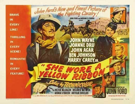 SHE WORE A YELLOW RIBBON Movie POSTER 22x28 Half Sheet John Wayne Joanne Dru