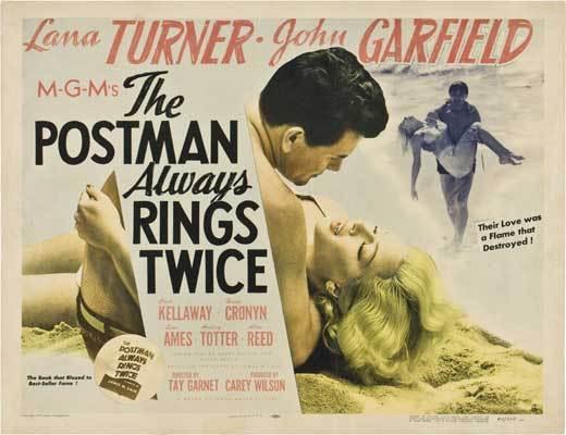 THE POSTMAN ALWAYS RINGS TWICE Movie POSTER 22x28 Half Sheet Lana Turner John