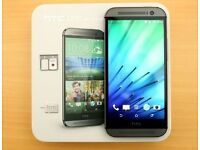 HTC ONE M8 DUAL SIM 32gb BOXED UNLOCKED TO ALL NETWORKS MINT CONDITION METAL GREY