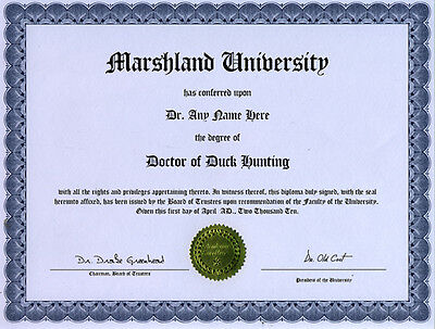 Doctor Duck Hunting Novelty Diploma Call Decoy Blind