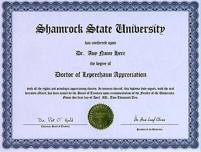 Doctor Leprechaun Appreciation Novelty Diploma Shamrock