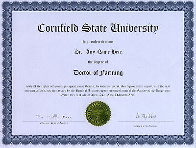 Doctor Farming Novelty Diploma Combine Tractor Plow