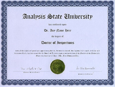 Doctor Inspections Novelty Diploma Home Inspection Cour