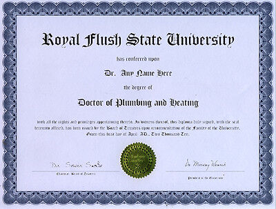 Doctor Plumbing And Heating Novelty Diploma Solder Flux