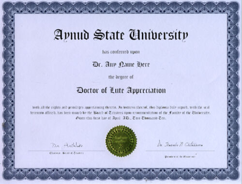 Doctor Lute Appreciation Diploma Archlute Chitaronne