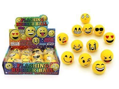 FLASHING EMOJI BOUNCING BALL 55MM 1 PC LIGHT FLASH NOVELTY TOY PARTY STRESS KIDS - Cheap Stress Ball
