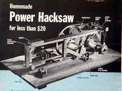 Build A Power Hacksaw Handles 3x4 No Machining Howto Plans