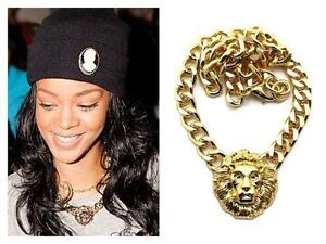 Celebrity Style Chunky Gold Statement Lion Head Cuban Chain Link Necklace UK