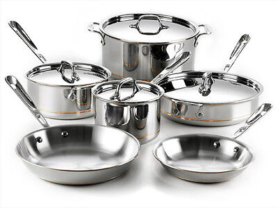 ALL-CLAD 10PC COPPER CORE COOKWARE SET 600822 SS  NEW