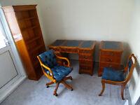 5 Piece: Antique Style Desk,Filing Cabinet,Chesterfield Captains Chair,Chair,Shelves Unit