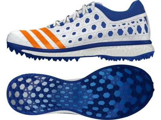 Adidas Adizero Boost SL22 Mens White Blue Cricket Sports Shoes Shipped From USA