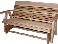 Solid wood outdoor glider bench rocker - Free Shipping