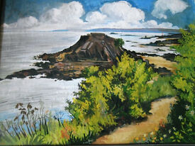 SUPERB OIL PAINTING ISLAND IN FRANCE