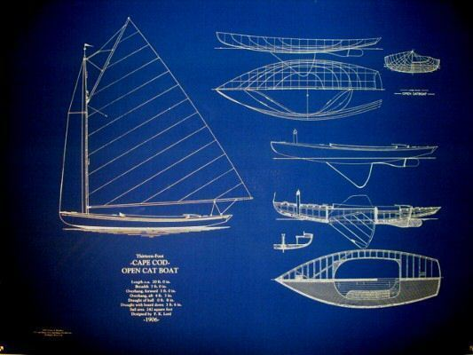 "Vintage 20 foot Cape Cod Cat Boat 1906 Blueprint Plan 23""x32"" (113)"