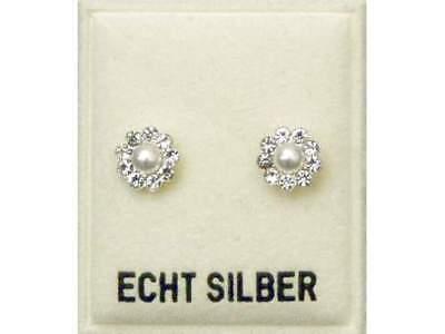 NEU 925 Silber OHRSTECKER PERLEN creme SWAROVSKI STEINE kristallklar OHRRINGE