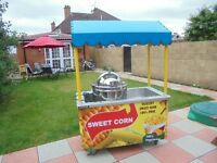 SWEET CORN CART FOOD / CATERING / TROLLEY / TRAILER WITH NEW SWEETCORN STEAMER MACHINE STAND KIOSK