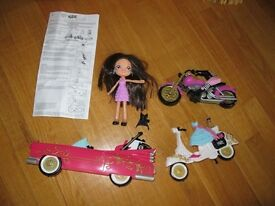 Rare Bratz Kidz Snap-On Doll with Sassy Vehicles - Great used condition