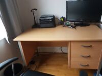 Desk - sturdy office desk with lockable drawers