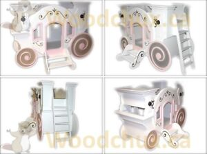 CINDERELLA CARRIAGE Twin Size Bunk Bed .... ♥‿♥